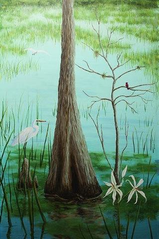 Erma Jean Mural 006 - Cypress Tree with White Bird - 71.5 inch H - Wall Mural Office Wall Hanging Living Room Wall Papers Mural Wall Decors