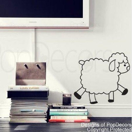 PopDecors - On sale - Cute sheep - (10 inch H) - Custom Beautiful Tree Wall Decals for Kids Rooms Teen Girls Boys Wallpaper Murals Sticker Wall Stickers Nursery Decor Nursery Decals - PopDecors,Baby Product, Pop Decors, PopDecors