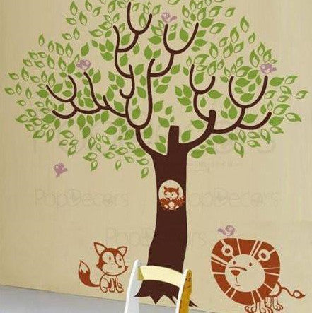 Leaf Tree with Cute Animals-Wall Decal - PopDecors,Baby Product, Pop Decors, PopDecors