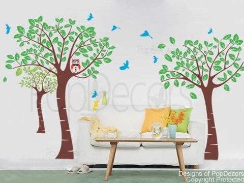 PopDecors - Tree Garden With Birds - 83in H - Custom Beautiful Tree Wall Decals for Kids Rooms Teen Girls Boys Wallpaper Murals Sticker Wall Stickers Nursery Decor Nursery Decals