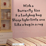 With a Butterfly kiss-Quote Decal - PopDecors,Baby Product, Pop Decors, PopDecors