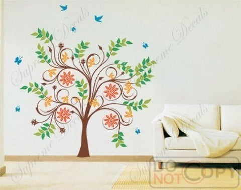Custom PopDecals - Dancing Tree with Flying Birds and Butterflies - 82 in W - Beautiful Tree Wall Decals for Kids Rooms Teen Girls Boys Wallpaper Murals Sticker Wall Stickers Nursery Decor Nursery Decals - PopDecors,Home, PopDecals, PopDecors
