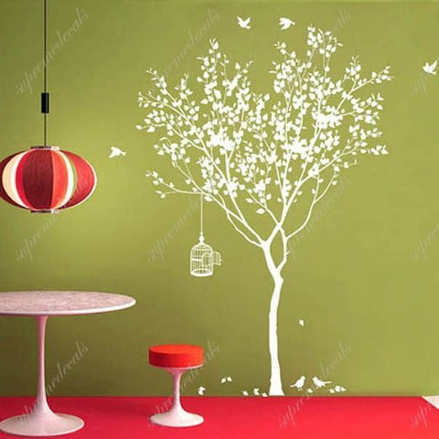 Custom PopDecals - Spring Tree with bridcage - Beautiful Tree Wall Decals for Kids Rooms Teen Girls Boys Wallpaper Murals Sticker Wall Stickers Nursery Decor Nursery Decals