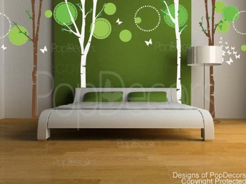 Nice Four Big Birch Trees with Flying Butterflies-Wall Decal - PopDecors,Baby Product, Pop Decors, PopDecors