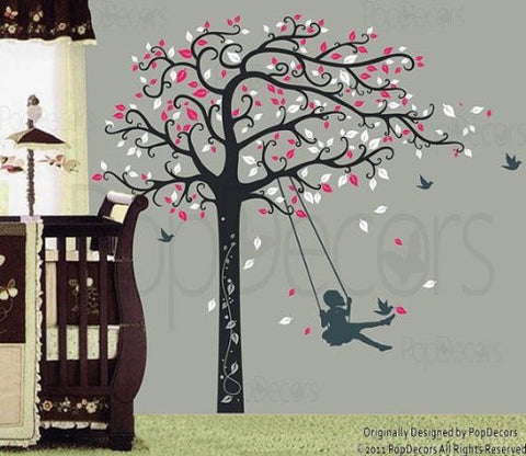 Girl Plays Swing-Wall Decal - PopDecors,Baby Product, Pop Decors, PopDecors