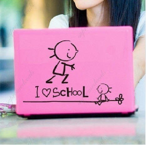 Custom PopDecals - I heart school laptop notebook - Beautiful Tree Wall Decals for Kids Rooms Teen Girls Boys Wallpaper Murals Sticker Wall Stickers Nursery Decor Nursery Decals