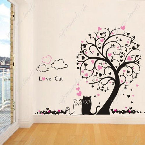 US Made - Custom Color - PopDecals - Playroom, boy, girl room decor must have- Tree with Love cats-71 inch H- Stickers - PopDecors,Home, PopDecals, PopDecors