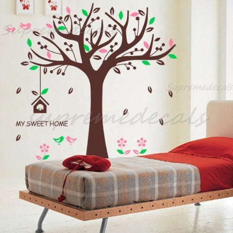 "Custom PopDecals - Nursery Tree Decal (65"" H) - Beautiful Tree Wall Decals for Kids Rooms Teen Girls Boys Wallpaper Murals Sticker Wall Stickers Nursery Decor Nursery Decals"