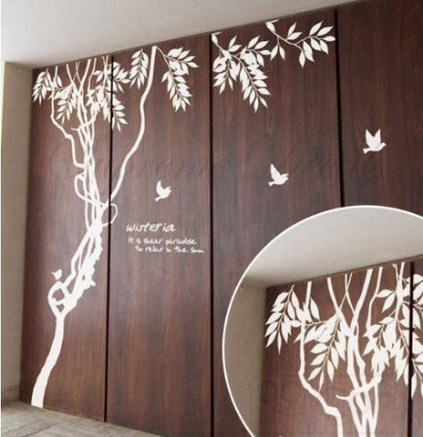 Custom PopDecals - Whisper of Spring - 8 feet 6 in - Beautiful Tree Wall Decals for Kids Rooms Teen Girls Boys Wallpaper Murals Sticker Wall Stickers Nursery Decor Nursery Decals - PopDecors,Home, PopDecals, PopDecors