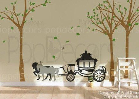 "PopDecors - Big birch trees and horse wagon (102"" H) - Custom Beautiful Tree Wall Decals for Kids Rooms Teen Girls Boys Wallpaper Murals Sticker Wall Stickers Nursery Decor Nursery Decals"