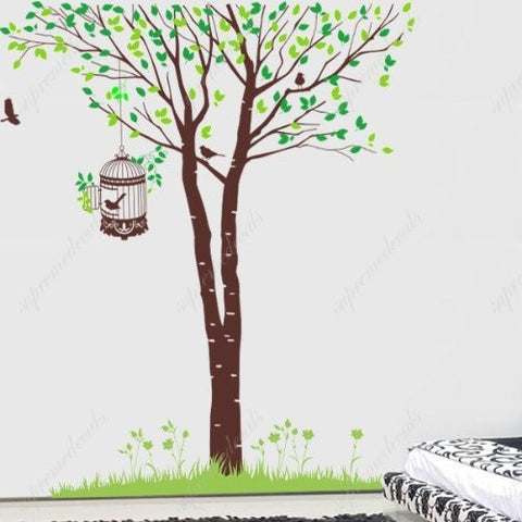 Custom PopDecals - Elegant birch tree with birds family - Beautiful Tree Wall Decals for Kids Rooms Teen Girls Boys Wallpaper Murals Sticker Wall Stickers Nursery Decor Nursery Decals - PopDecors,Home Improvement, PopDecals, PopDecors