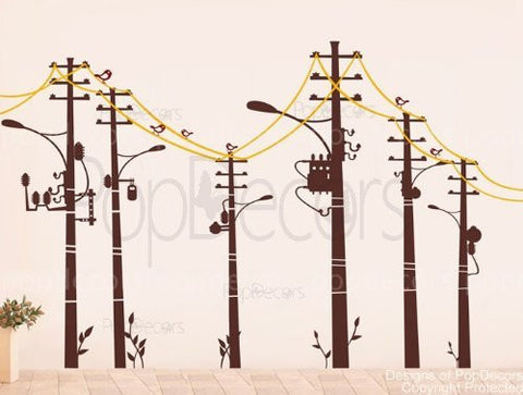 "PopDecors - Cool wire pole -(78"" H) - Custom Beautiful Tree Wall Decals for Kids Rooms Teen Girls Boys Wallpaper Murals Sticker Wall Stickers Nursery Decor Nursery Decals"