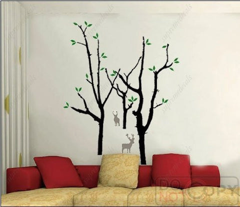 Custom PopDecals - Forest and deers - 66.3 in tall - Beautiful Tree Wall Decals for Kids Rooms Teen Girls Boys Wallpaper Murals Sticker Wall Stickers Nursery Decor Nursery Decals - PopDecors,Home, PopDecals, PopDecors