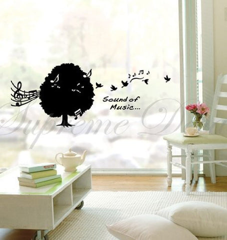 Custom PopDecals - Music tree sound of mucic - Beautiful Tree Wall Decals for Kids Rooms Teen Girls Boys Wallpaper Murals Sticker Wall Stickers Nursery Decor Nursery Decals
