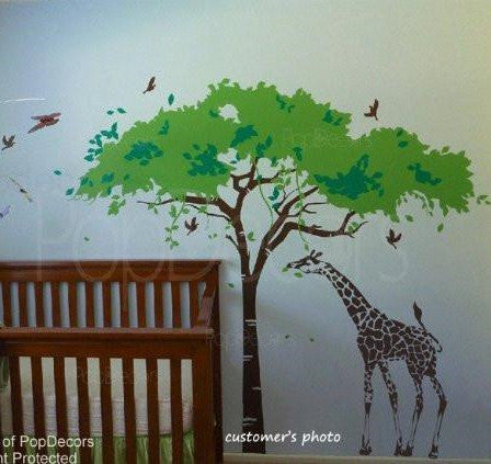 Africa Tree and Giraffe-Wall Decal