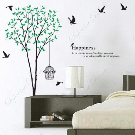 Custom PopDecals - My Lovely Green Tree 65 in tall - Beautiful Tree Wall Decals for Kids Rooms Teen Girls Boys Wallpaper Murals Sticker Wall Stickers Nursery Decor Nursery Decals