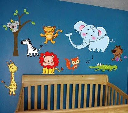 PopDecors Repositionable Babies Printed Wall Decals Kids Wall Stickers Child Playroom Kids Wall Decors- Happy Zoo Wall Stickers - PopDecors,Home, Pop Decors, PopDecors