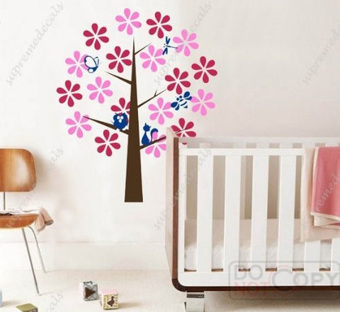 Custom PopDecals - ful flower tree (four s) - 57 in high - Beautiful Tree Wall Decals for Kids Rooms Teen Girls Boys Wallpaper Murals Sticker Wall Stickers Nursery Decor Nursery Decals - PopDecors,Home, PopDecals, PopDecors