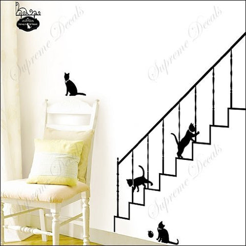 Custom PopDecals - Cats play with stairs - Beautiful Tree Wall Decals for Kids Rooms Teen Girls Boys Wallpaper Murals Sticker Wall Stickers Nursery Decor Nursery Decals