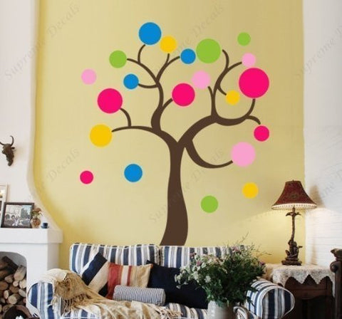 Custom PopDecals - two sets of ful Circle Tree (84 in) - Beautiful Tree Wall Decals for Kids Rooms Teen Girls Boys Wallpaper Murals Sticker Wall Stickers Nursery Decor Nursery Decals