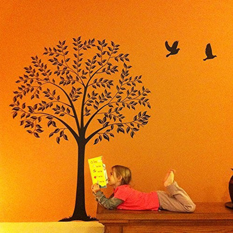 PopDecals - Linden Tree Dark Brown (57 in high ) - Beautiful Tree Wall Decals for Kids Rooms Teen Girls Boys Wallpaper Murals Sticker Wall Stickers Nursery Decor Nursery Decals