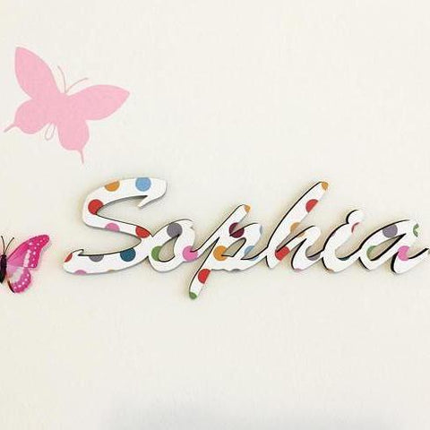 Polka Dots Wood Custom Name