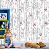 Trees and Owls- Fabric Peel and Stick Wallpaper prt0084