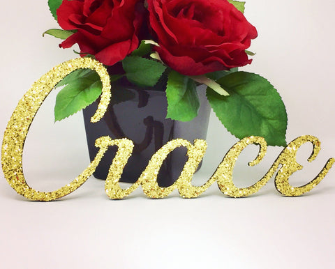Custom Wooden Glitter Name