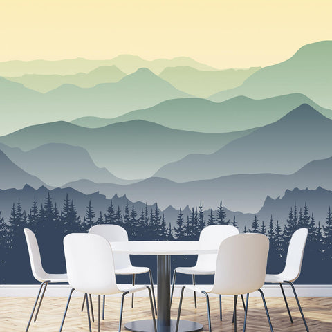 Great Mountain Green-Seamless Wall Mural-prt0089