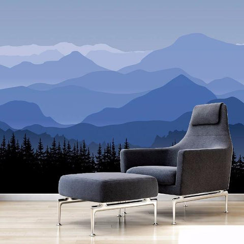 Great Mountain Blue Seamless Wall Mural Pop Decors