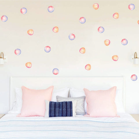 Watercolor Polka Dots Fabric Wall Stickers prt0090