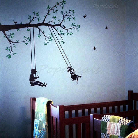 Children play swing-Wall Decals-  T-090 - PopDecors,, PopDecors, PopDecors