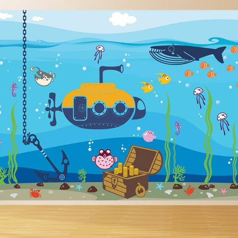 Ocean World-Nautical Nursery Fabric Wall Mural- prt0022