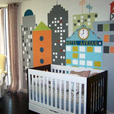 City Buildings with Custom Kid's Name- Wall Mural -prt0034 - PopDecors,, PopDecors, PopDecors