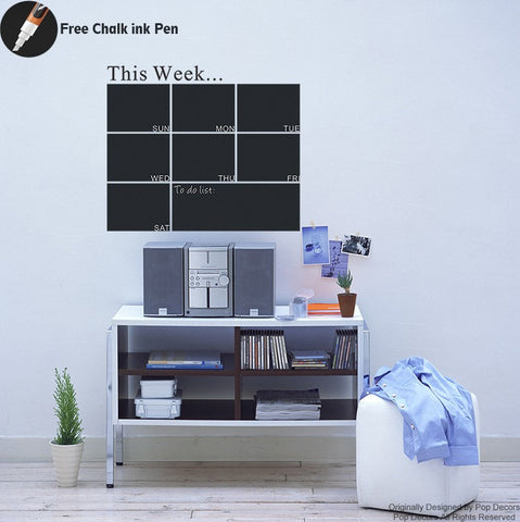chalkboard-week calendar- wall decal