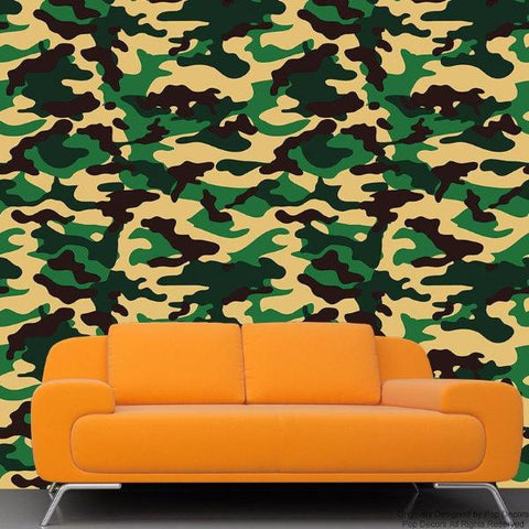 Camouflage Wallpaper- Just Peel and Stick prt0039 - PopDecors,, PopDecors, PopDecors