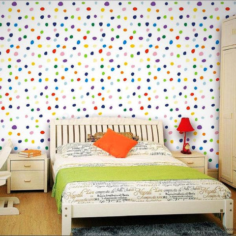 Colorful Polka Dots Wallpaper- Kids Room Wall Covering -prt0052