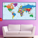 World Map- Kids Educational Fabric Wall Mural -prt0024
