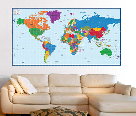 World map kids educational fabric wall mural prt0024 gumiabroncs Images