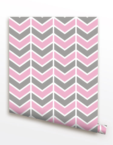 Pink and Grey Chevron- Modern Wallpaper prt0085