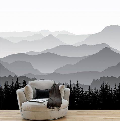 Great Mountain Gray- Seamless Wall Mural - prt0089