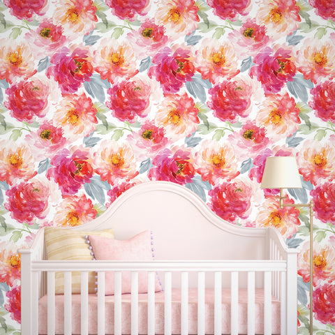 Peony Flowers Seamless- Floral Wall Covering prt0092