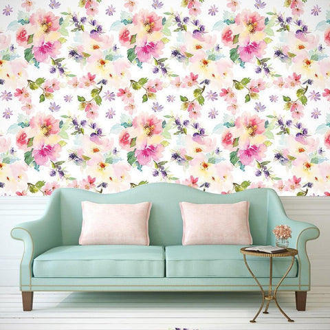Blooming Flowers Seamless Wall Paper-Peel and Stick prt0094