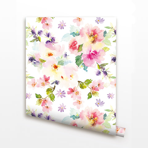 Blooming Flowers Seamless Wall Paper-Peel and Stick prt0094 - PopDecors,, PopDecors, PopDecors