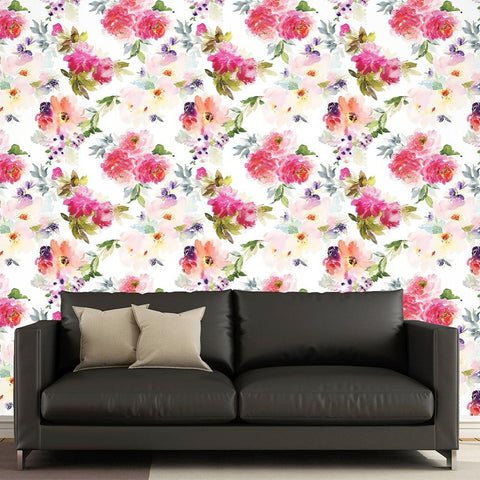 Blooming Flowers 2 Seamless Wall Paper-Peel and Stick prt0095 - PopDecors,, PopDecors, PopDecors