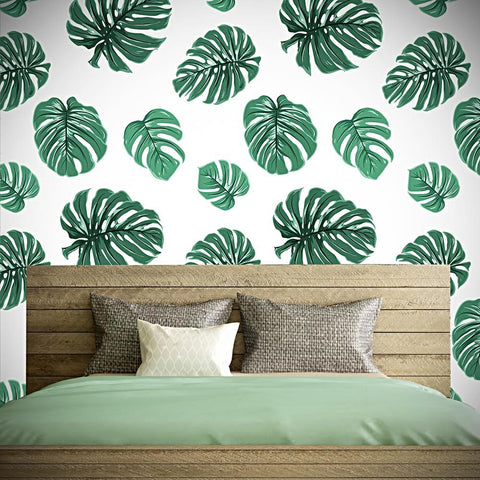 Nature Green Leaves Seamless Wall Paper-Peel and Stick prt0096