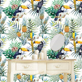 Tropical Birds Wallpaper - Pineapple, Parrots Wall Mural prt0101
