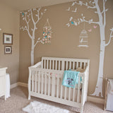 Three Birch Trees and Birdcage Wall Decals