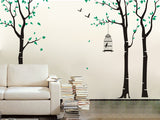 Three Birch Trees and Birdcage Nursery Tree Wall Decals - PopDecors,Home, Pop Decors, PopDecors