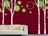Nice Four Big Birch Trees with Flying Butterflies Decals